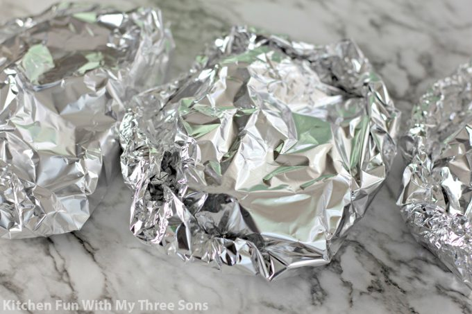 foil packets ready to be grilled