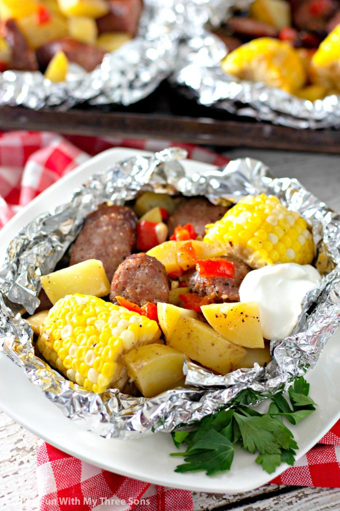 Garlic Kielbasa Grilled Foil Packets