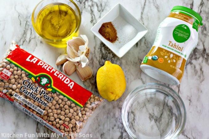 ingredients to make Instant Pot Hummus Recipe