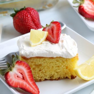 This Lemonade Sheet Cake has the most delicious lemon flavor and is infused with actual lemonade. Anyone that is a fan of lemonade desserts will love this.