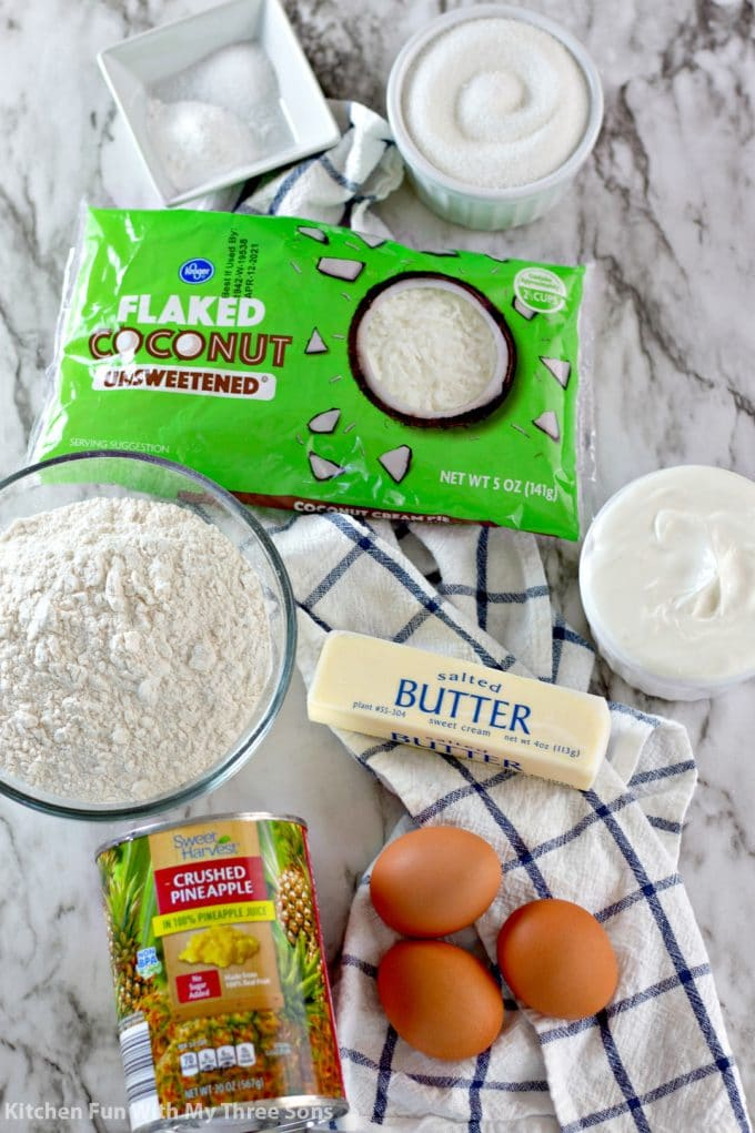 ingredients to make Pineapple Coconut Bread
