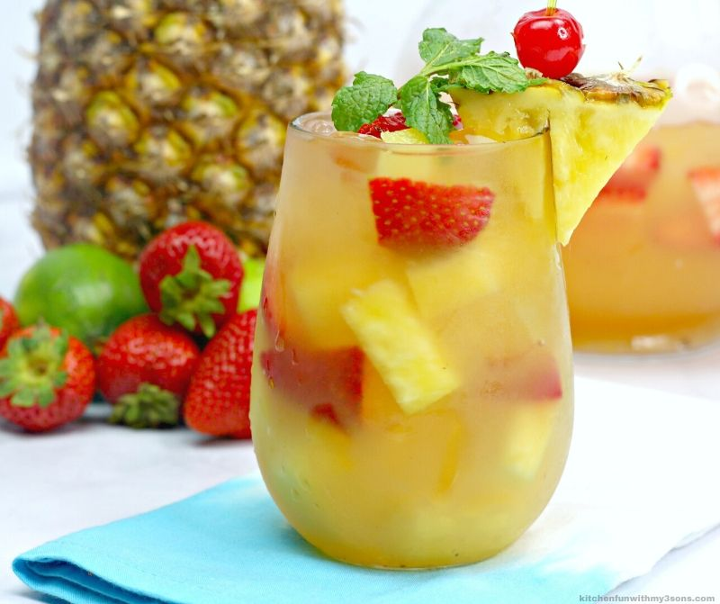 cocktail with strawberries and pineapple