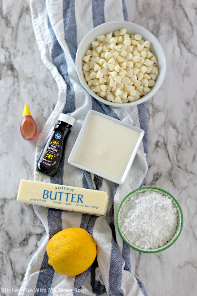ingredients to make White Chocolate Lemon Truffles
