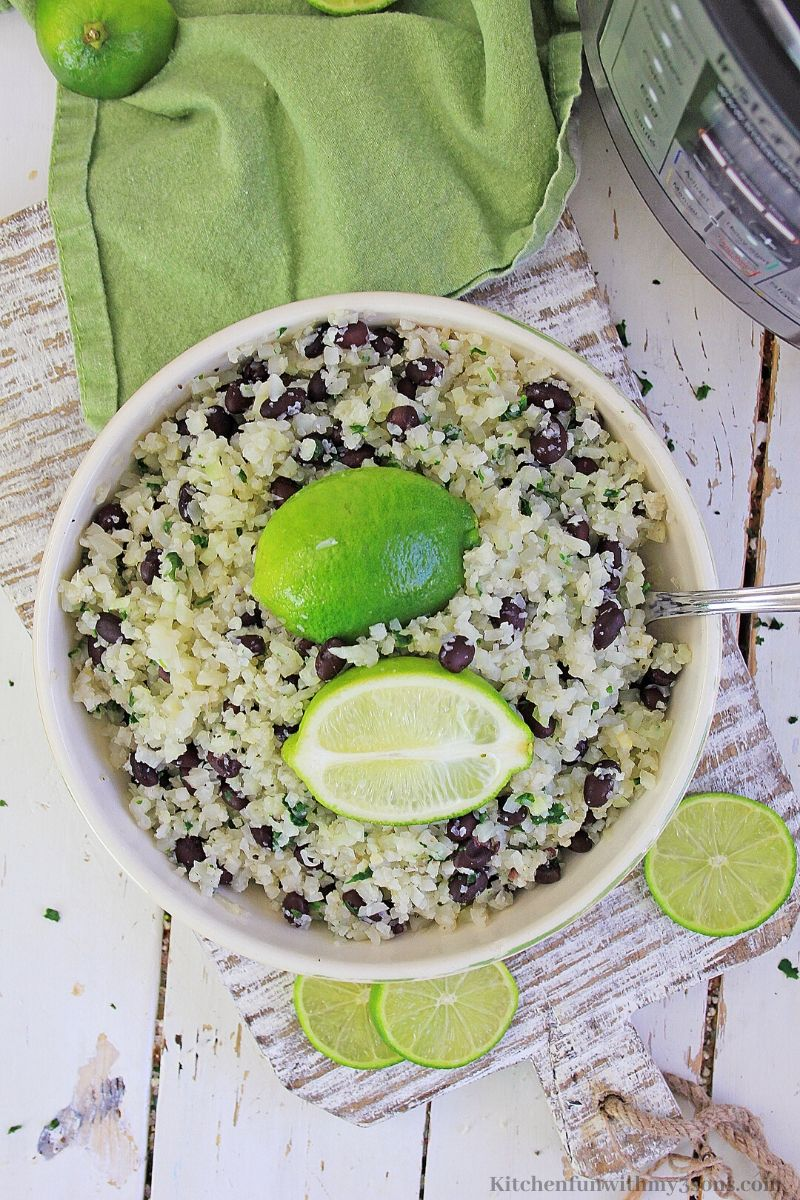 rice in a bowl with a lime
