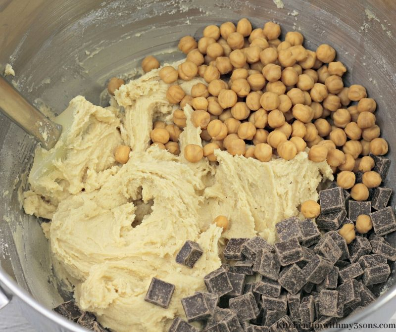 cookie dough with chocolate and caramel