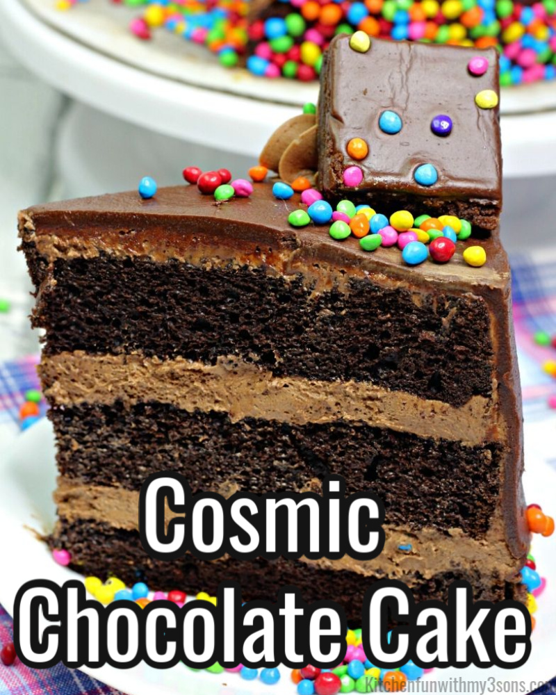 This Cosmic Chocolate Cake is absolutely amazing. This cake tastes like the Cosmic Brownies that we have loved as kids. To make this cake even more special it is topped with Cosmic Brownies. Make this cake for a special occasion and impress your guests.