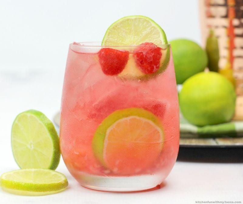 raspberry lime rickey on a glass
