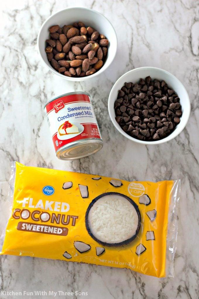 ingredients to make Almond Joy Cookies