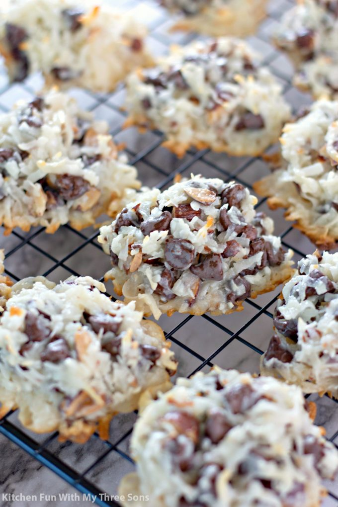 Almond Joy Cookies on a wire cooling rack