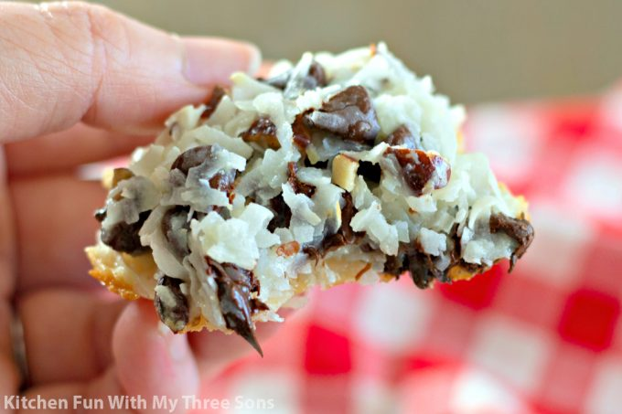 Almond Joy Cookies with a bite missing
