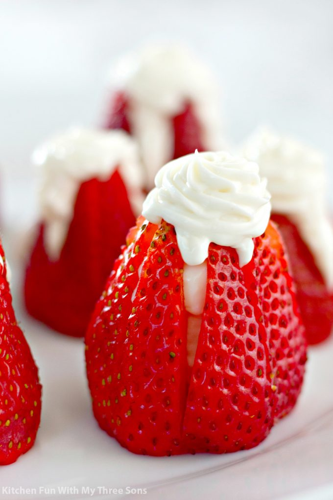 5 Ingredient Cheesecake Stuffed Strawberries on a white plate