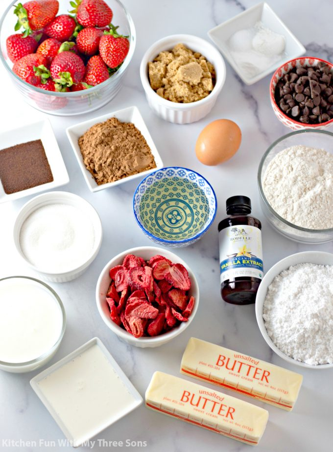 Ingredients to make Chocolate Dipped Strawberry Cupcakes