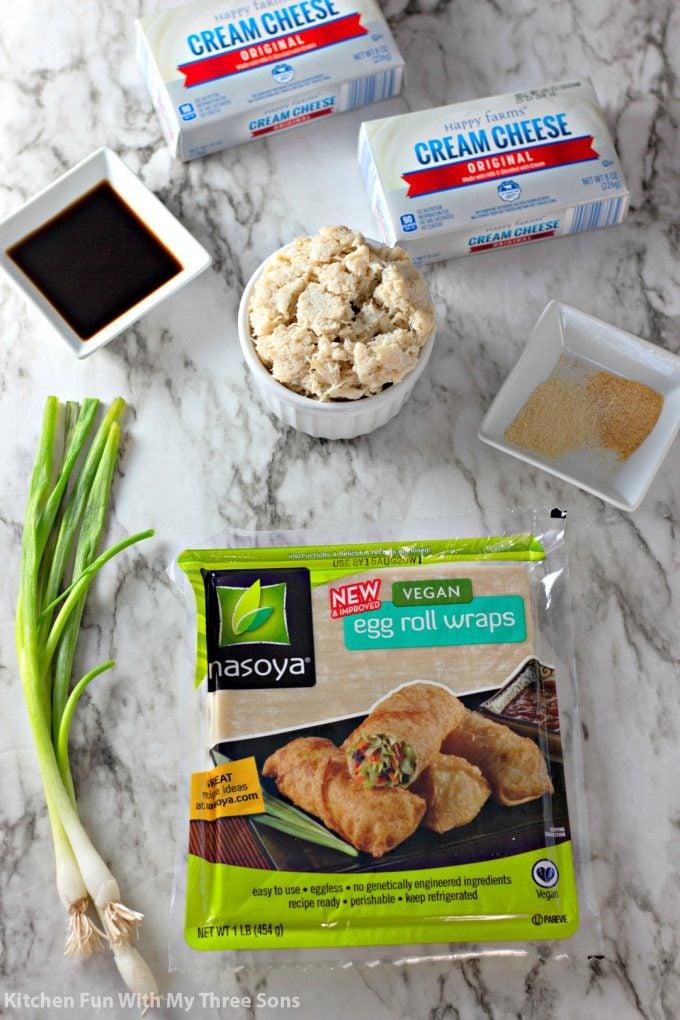 ingredients to make Crab Rangoon Egg Rolls