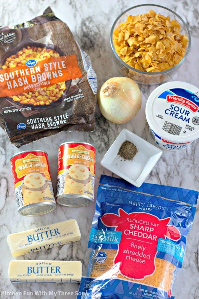 ingredients to make Easy Funeral Potatoes Recipe