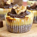Mini Snickers Caramel Cheesecakes are going to be your new favorite dessert. They have a yummy chocolate cookie layer with salted caramel cheesecake and topped with real Snickers bars.