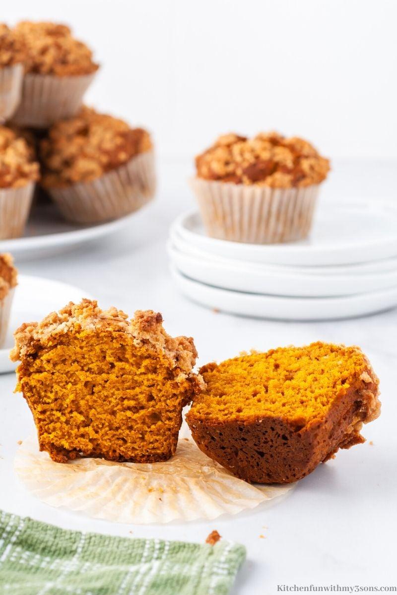 cut open pumpkin spice muffin