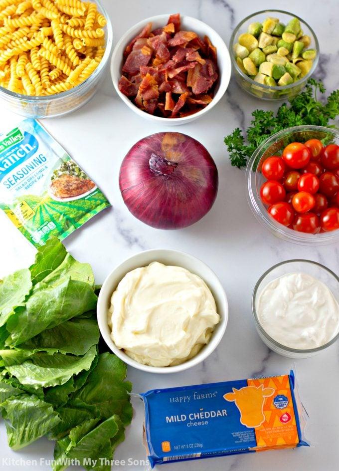 ingredients to make BLT Pasta Salad Recipe