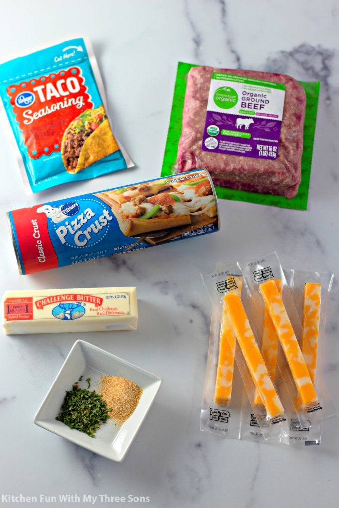 ingredients to make Cheesy Taco Breadsticks