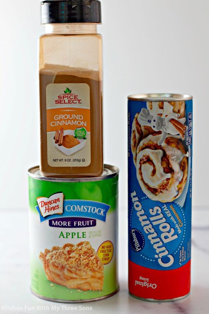 ingredients to make Easy Cinnamon Apple Cobbler