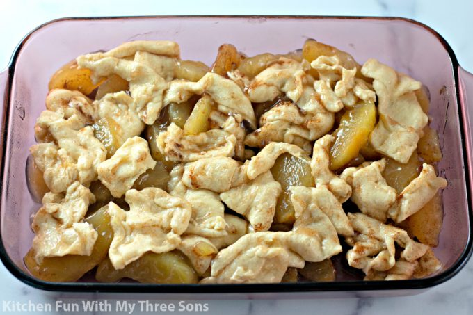 apple casserole ready to be baked