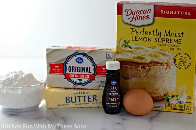 ingredients to make Cake Mix Lemon Cookies