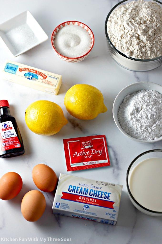 ingredients to make Lemon Sweet Rolls Recipe