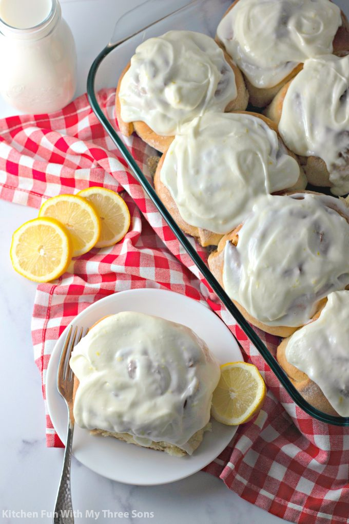 Lemon Sweet Rolls Recipe with a red and white napkin