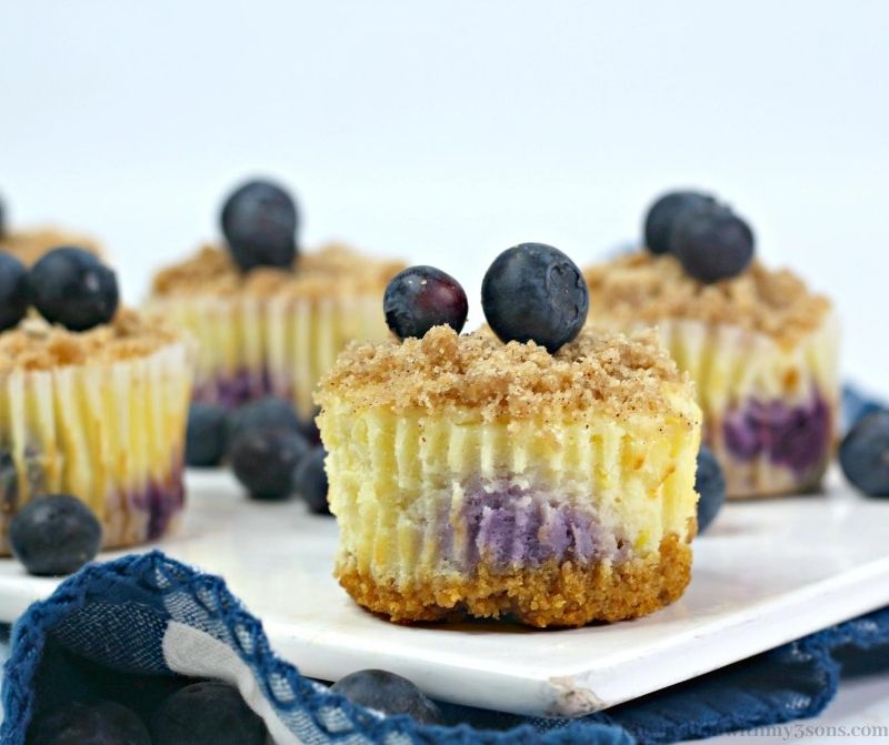 Blueberry Crumble Cheesecake Bites