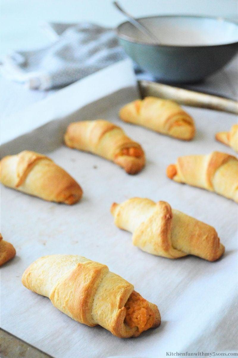 Pumpkin Pie Croissants on a baking sheet