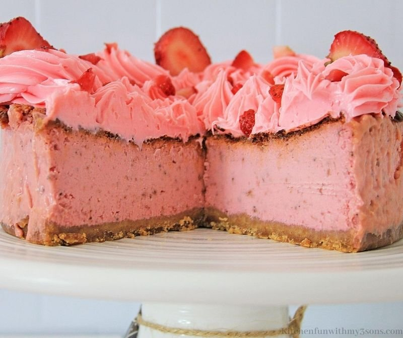 Strawberry Air Fryer Cheesecake