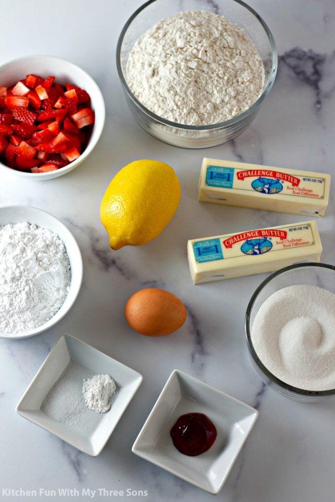 ingredients to make Strawberry Lemon Blondies