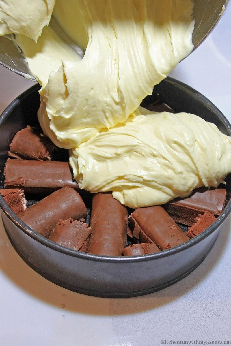 cheesecake over swiss rolls