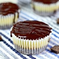 Mini Chocolate Ganache Cheesecake is a delicious cheesecake layered on top of a homemade chocolate crust with chocolate ganache poured on top.
