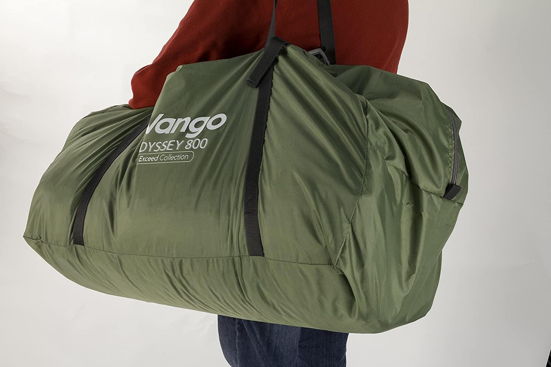 duffle bag over a shoulder