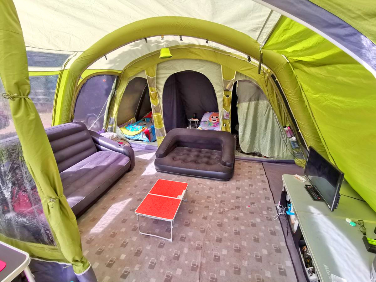 large tent room with inflatable furniture
