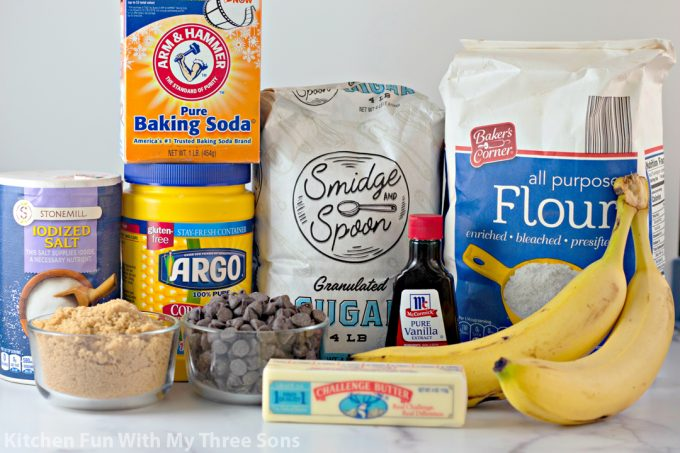ingredients to make Banana Chocolate Chip Cookies