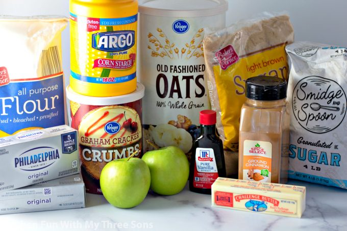 ingredients to make Caramel Apple Crisp Cheesecake