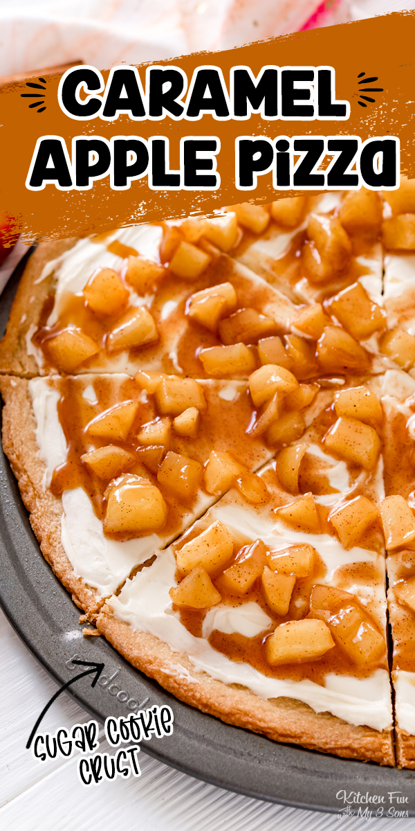 Caramel Apple Fruit Pizza is a great fall dessert recipe. You'll love this sugar cookie crust with a delicious cream cheese frosting all topped with a cinnamon and caramel apple topping.