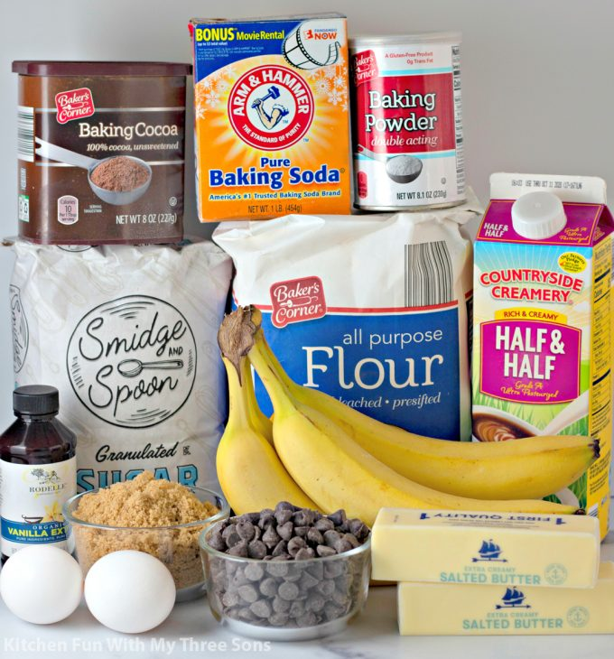 ingredients to make Chocolate Banana Bread