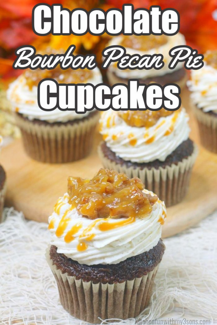 Chocolate Bourbon Pecan Pie Cupcakes
