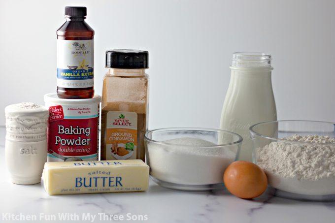 ingredients to make Cinnamon Sugar Donut Muffins