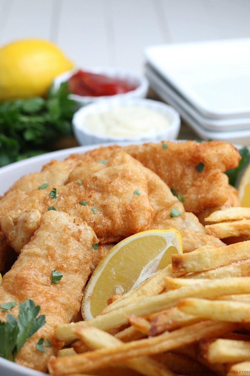Close up picture of the Classic Fish and Chips Recipe.