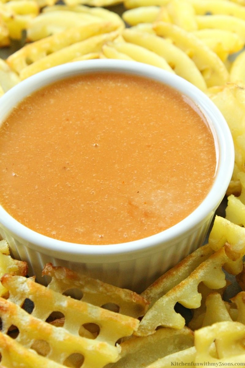 Close up picture of the Copycat Chick Fil A Sauce.