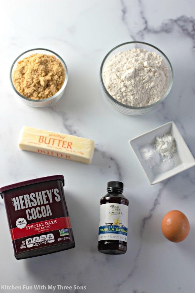 ingredients to make Dark Chocolate Cookies