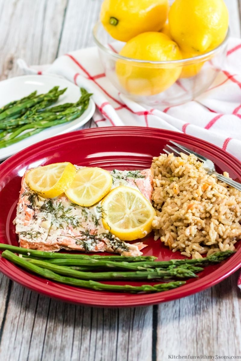 Instant Pot Salmon and Rice on a serving plate.
