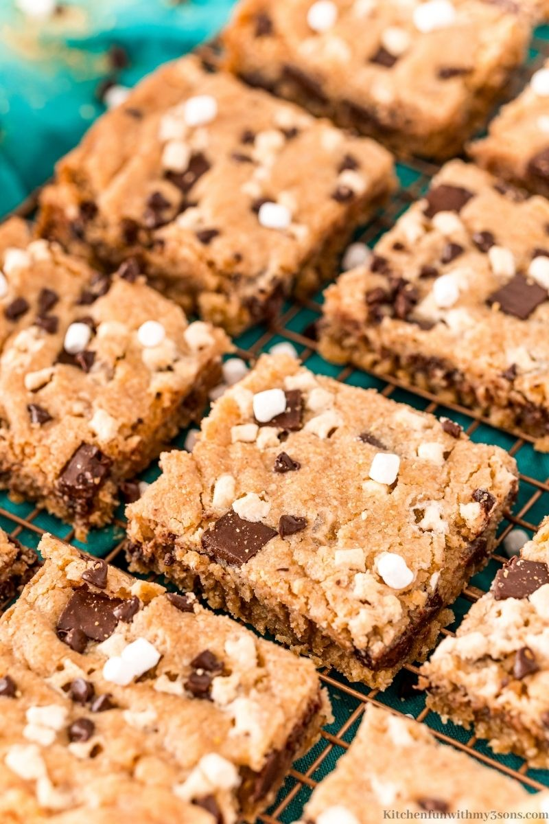 The S'Mores Cookies Bars arranged on a cooling rack.