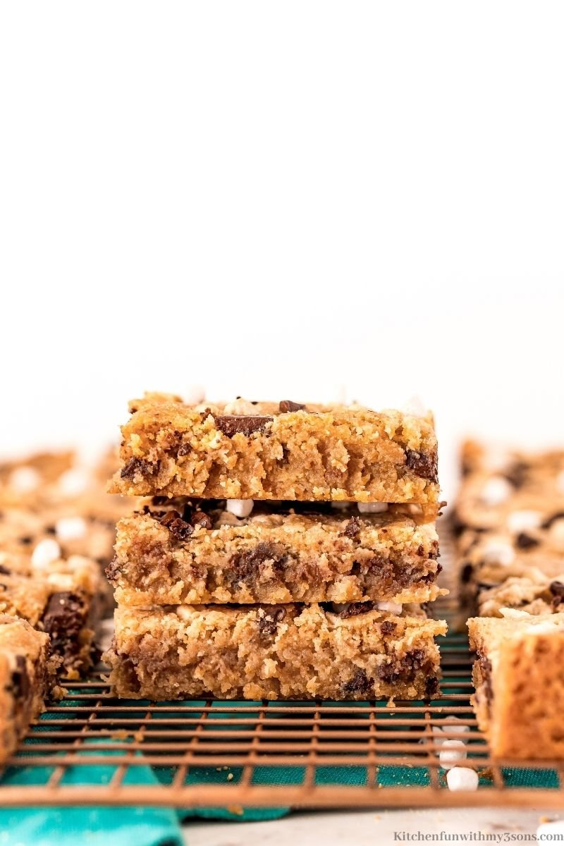 Side view of stacked S'Mores Cookies Bars.
