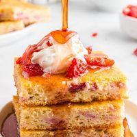 Strawberry and Cream Sheet Pan Pancakes