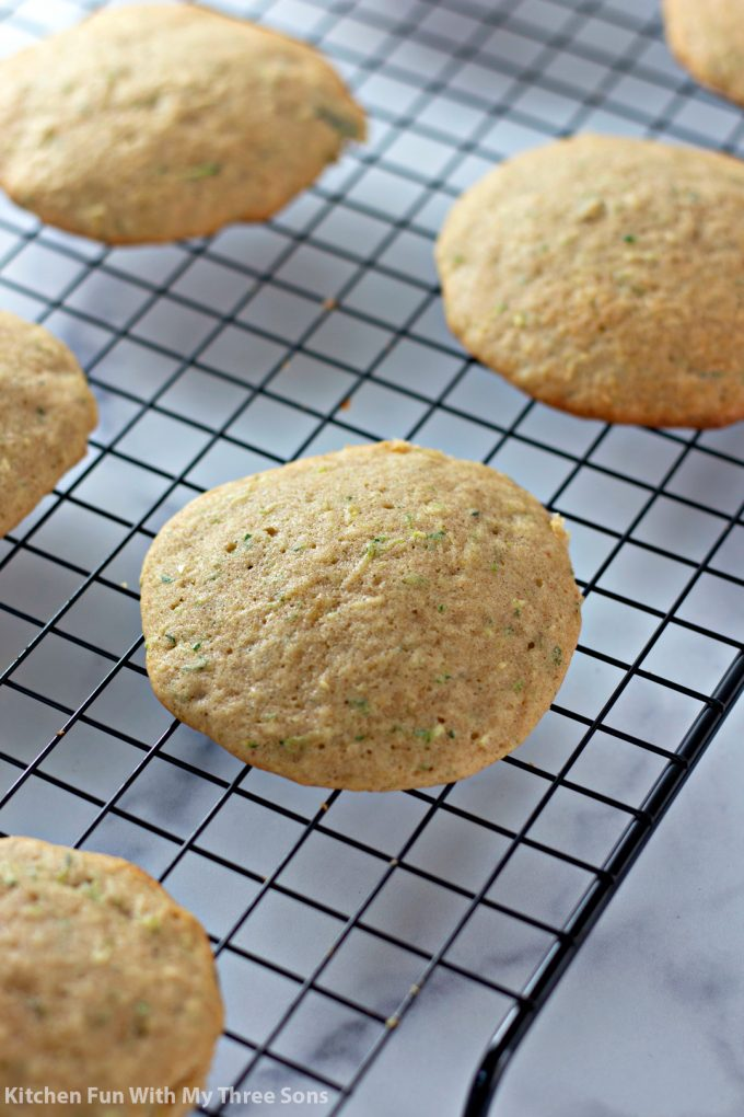 freshly baked cookies on a wire cooling rack