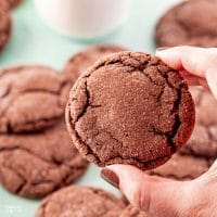 Chocolate Cake Mix Cookies are the softest and most chewy cookie recipe ever. It takes just four ingredients and ten minutes in the oven and you've got a delicious moist cookie.